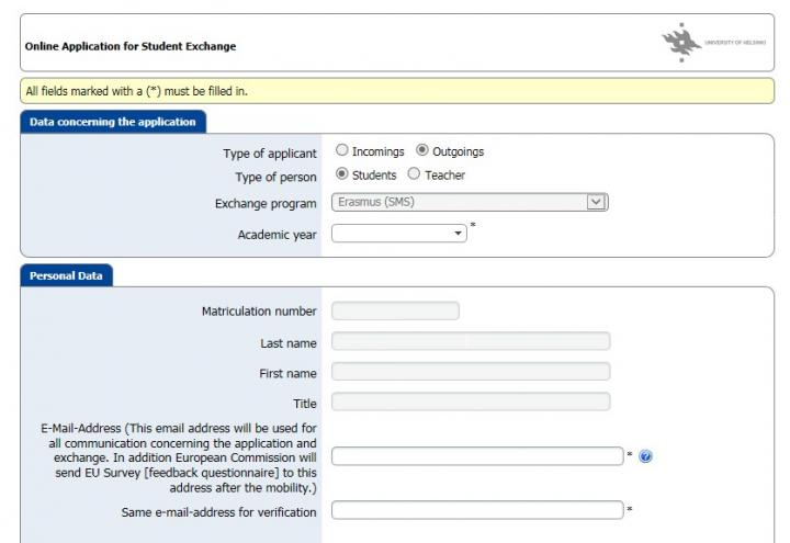 Students Application Form   Completing An Application In Mobility Online Instructions For Students